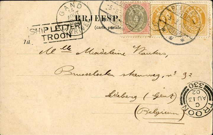 "Postcard sent from Reykjavik to Gent in Belgium 5 August 1902, bearing a 4 aur 1900 and pair of 3 aur 1901, making up the 10 aur UPU postcard rate. Transit mark CDS ""TROON 330 - C 13 AU 02"" alongside boxed ""SHIP LETTER - TROON"" alongside and Gand receiving mark on front. Scarce combination."