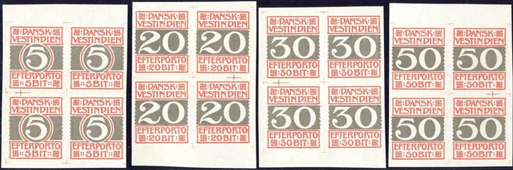 Complete set colour proofs of the Postage Due BIT issue, imperforate blocks of four, without gum. Engstrøm type DP5.