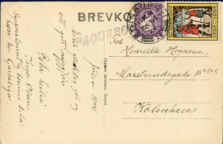 "Postcard sent from Faroe Islands via Edinburgh to Copenhagen, bearing a 15 øre lilac 1924 Danish Postal 400th Anniversary, tied by two-ring ""EDINBURGH 11 - 20 DE 24"" alongside italic ""PAQUEBOT"". With Danish Christmas seal, here used on the Faroe Islands. 15 øre domestic rate from 1.7.1920-1.4.1926, despite it was sent as ship mail via England."