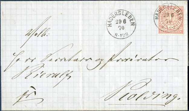 Border rate letter sent from Hadersleben to Kolding 29 June 1870, bearing a single NDP 1Gr. perforated Mi. Nr. 16, and tied by PER Io (DAKA 58.12). RARE.