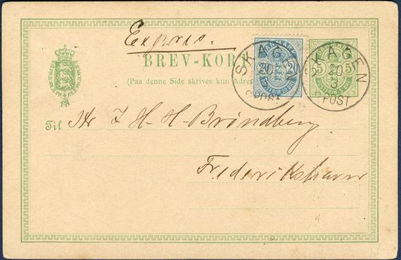 "5 øre BREV-KORT sent by EXPRESS service from Skagen to Frederikshavn 30 March 1891, additional franked with 20 øre Coat of Arms perf. 14 tied by CDS ""SKAGEN 20/3 2 POST"". 20 øre pays for the express service, outstanding and colour full express letter."