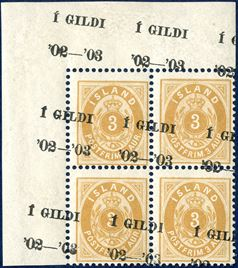 3 AUR 'large 3' yellow with black Í GILDI '02-'03' overprint, overprint shifted both on stamps and partly overprinted in the margins. Two upper pair mint never hinged, the lower hinged. A rare an attractive overprint errror.