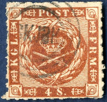 4 skilling rouletted issue 1863, canceled with esrom style postmark 'SKJBK' Skjærbæk. Upright and distinct cancellation.