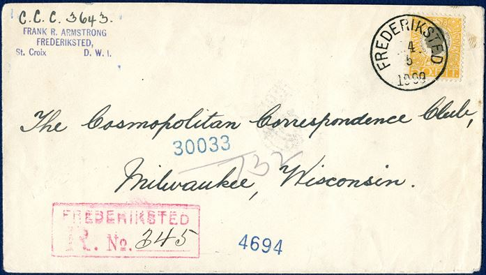 "Registered letter from Frederiksted 14 May 1909 to Milwaukee, Wisconsin, USA. 50 BIT King Christian IX tied by CDS ""FREDERIKSTED 14/5 1909"" with registration mark ""FREDERIKSTED R. No. 345"". Favored rate 25 BIT within 1500 nautical miles from 1.5.1907 – 30.9.1909 plus 25 BIT registration fee, normal letter rate 40 BIT for all other countries. Announcement in St. Thomas Tidende 16.4.1907, included favored rate to Barbardos, Canada, Cuba, Curacao, USA, Grenada, Haiti, Jamaica, Martinique, St. Lucia, St. Vincent and Tobago and Trinidad, lowering the rate from 40 BIT to 25 BIT on 1 May 1907. SUPERB in every respect."