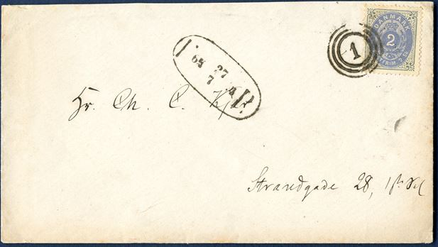 2 sk. bicolored VIII printing pos. A52 on foot post letter 27 July 1874 to Strandgade 28, 1Ste Sal. Canceled with distinct numeral '1' alongside FP (Skilling 8) in black 27/7 74. A clean and neat cover.