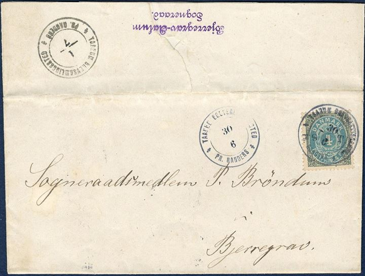 "Rural letter sent from Taanum to Bjerregrav near Randers the 30 June 1885 bearing a 4 øre bicolored 34th printing tied by two-ring private rural cancel ""TAANUN BREVSEMLINGSSTED 30/6"" and ""S T"" initials added to the stamp, but not on the departing postmark dated 1/7 on reverse. A most striking a fascinating example of the Danish private rural postmarks."