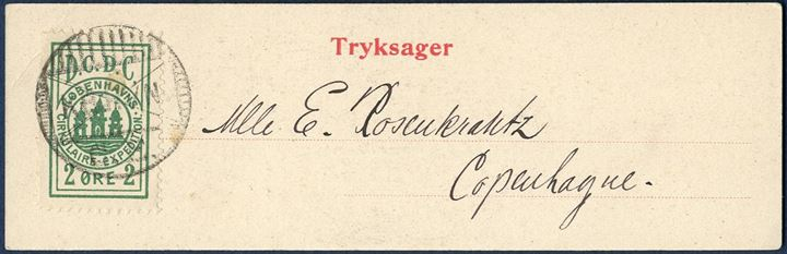 Copenhagen Circulaire Expedition 2 øre green on Copenhagen Postcard.
