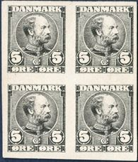 Die proof in black of King Christian IX 5 øre denomination on cardboard paper in block of four, designed by Hans Tegner. Rare.