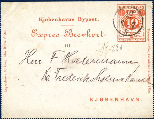 Copenhagen Bypost - 10 øre Expres-Brevkort red sent to '16 Frederiksholm Kanal' and with registration manuscript 'R·330' - Rare in used condition.