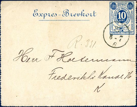 Copenhagen Bypost - 10 øre Expres-Brevkort blue sent to '16 Frederiksholm Kanal' and with registration manuscript 'R·331' - Rare in used condition.