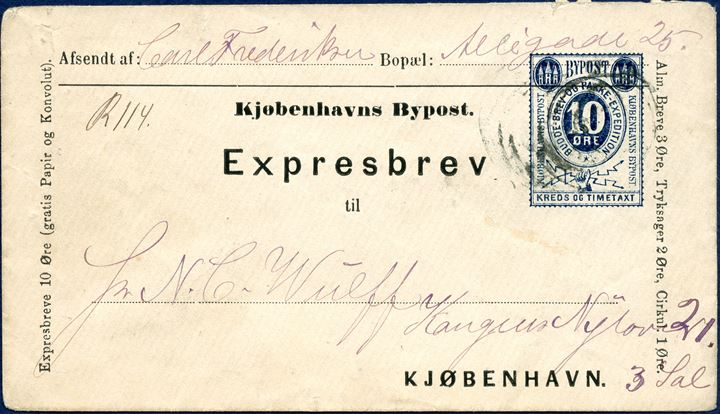 Copenhagen Bypost - 10 øre Expresbrev with pointed flap on laid paper, blue sent to 'Kongens Nytorv 21, 3. sal' and with registration manuscript 'R·114' - Rare in used condition.