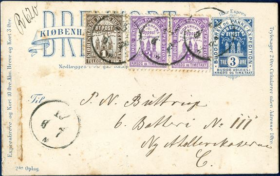 Copenhagen Bypost, 3 øre blue BREVKORT, 2det Oplag, uprated with 1 øre brown and pair 3 øre lilac tied by postmark and registration manuscript 'R620' - a rare example of an uprated to make up for the 10 øre express service.