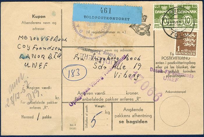 "Parcel letter sent from ""Dansk FN kommando UNEF"" in Egypt December 1957, for a parcel weighing 5 kg - sent a Danish dometic parcel rate."