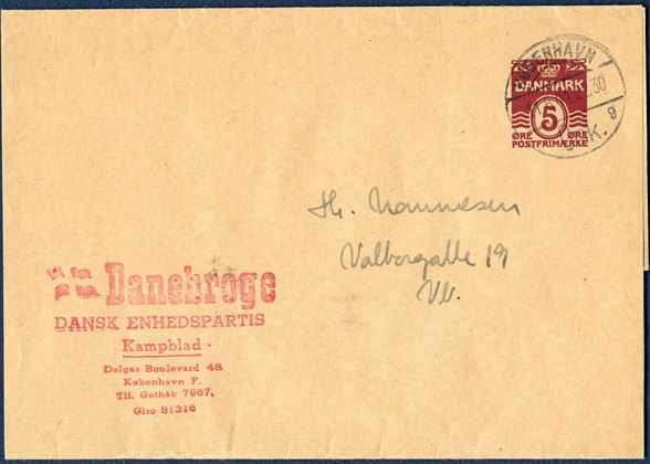 "Wrapper band sent local in Copenhagen 11 June 1941, stamped on front with the red mark ""Danebroge - Dansk Enhedspartis Kampblad …."" - Unusual."