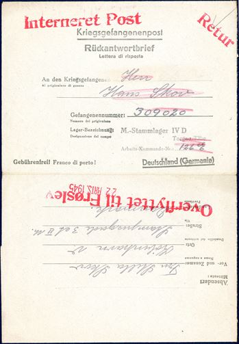 'Kriegsgefangenenpost / Rückantwortbrief' written by Stella Skov in Copenhagen on 20 March 1945 to her husband Hans Skov, prisoner no. '309020'. Stamped in red 'Interneret Post', 'Retur' and 'Overflyttet til Frøslev' and dateline mark '22. MRTS.1945'. Hans Skov was arrested on 19 September 1944 and sent to Buchelwald the same date, and transferred to Frøslevlejren 10 April 1945 from KZ Buchenwald. He was arrested with reason for 'Aktion politi'.