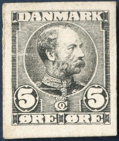 Die proof in black of King Christian IX 5 øre denomination on cardboard paper, designed by Hans Tegner.
