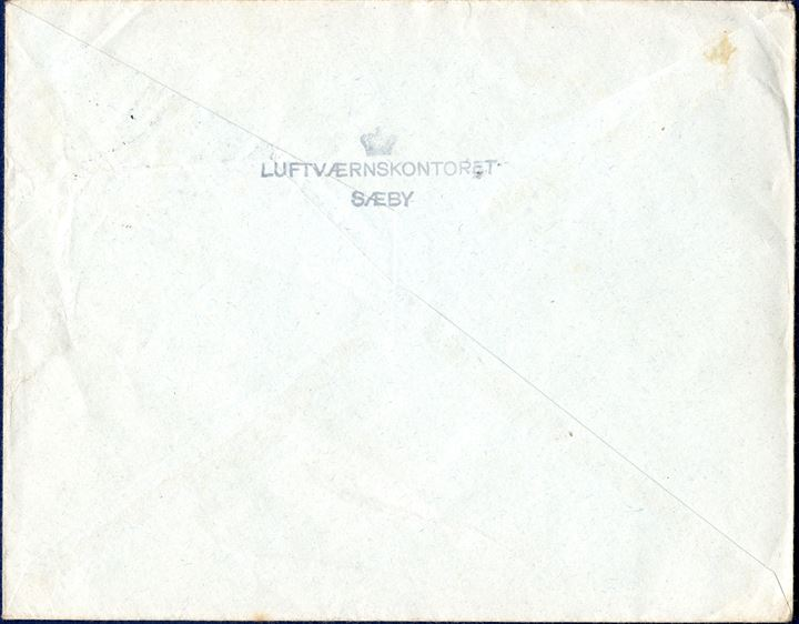 Refugee letter from Sæby 23 April 1946 to Red Cross, London, England. Sent by 'Siegfried Hermann, Flüchtlingslager, Saeby-West Jütland (Dänemark). Backstamped with refugee camp mark '[CROWN] / LUFTVÆRNSKONTORET / SÆBY '