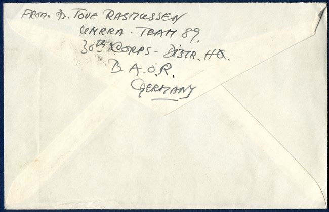 Letter from FIELD POST OFFICE 504 9 December 1945 to Copenhagen, sent by Tove Rasmussen, UNRRA-Team 89, 30th Corps-Distr. HG, B.O.A.R., Germany.