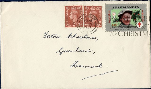 "Letter sent from Glasgow to ""Father Christmas"" in Greenland 14 December 1953 bearing two 2d stamps and an 1953 ""JULEMANDEN"" seal tied by Glasgow CDS. The ""Julemanden"" seals were to benefit children trough NAPT and Anglo Danish Society."