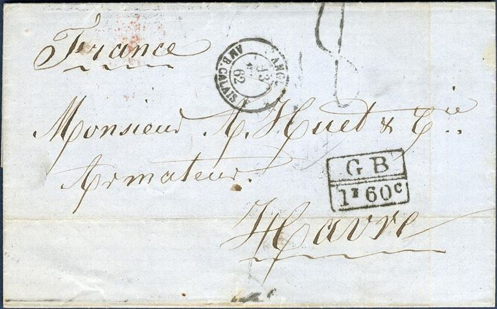 "Unpaid letter sent from St. Thomas to Havre 1 July 1862, charged ""8"" decimes and stamped with the boxed ""GB 1F 60c"" Anglo-French accounting mark. Transit marks on reverse."