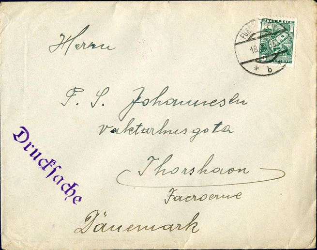 "Printed matter sent from Fürstenfeld to Thorshavn, Faroe Islands 18.X.35 bearing an 8 Gr. ""Volkstrachten"". Scarce destination."