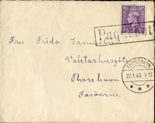 "Letter posted aboard the ship in Edinburgh and sent to Thorshavn bearing a British 3d stamp, tied by boxed ""Paquebot"" and ""THORSHAVN 22.7.48 9-13"" arriving mark."