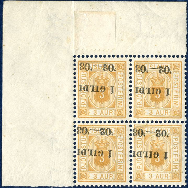 Official 3 aur perforation 12¾ with INVERTED overprint Í GILDI '02-'03, block of four mint never hinged with corner sheet margin, margin with hinge remnants (FACIT TJ21bv1) and small piece of sheet margin affixed on above pos. 1 in the sheet margin.