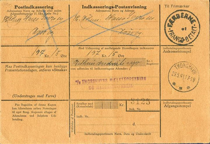 "Postal COD (Cash On Delivery) on complete form for 197,15 Dkr. sent from Thorshavn to Kvivig. Due to the shortage of stamps during WWII, the provisional stamp ""FÆRØERNE - FRANCO BETALT"" were applied and postage paid in cash, here paid 60 øre for COD from 100-300 dkr. Not paid by the addressee and therefore the entire form returned to Thorshavn where it arrived 7 June 1941."