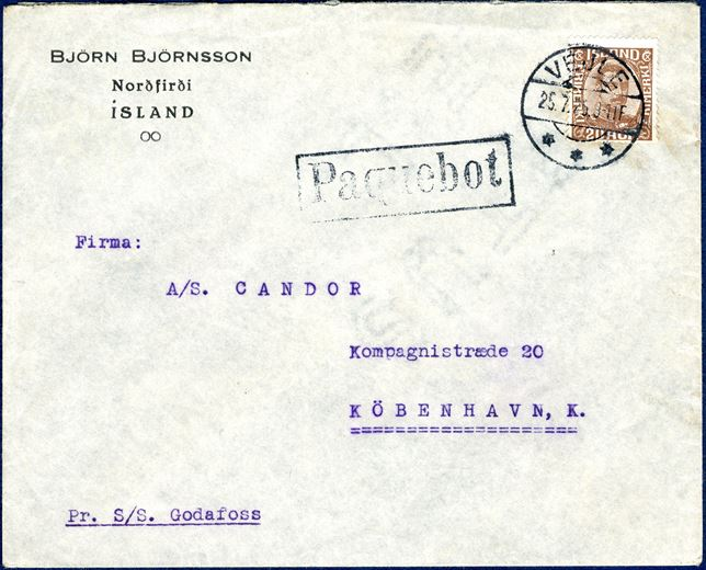 Envelope from Nordfirdi, Iceland 25 July 1925 to Copenhagen, Denmark. 20 aur brown King Christian X cancelled with Danish cds 'VEJLE 52.7.25 9-11F' alongside rectangular framed 'Paquebot' and noted 'Pr. S/S. Godafoss'. The Icelandic letters arriving on board ships sailing to Vejle were all horse shipment's, carrying also the postal mail to Denmark. Horsetrader Carl Sørensen imported the horses and the last known date with these ships from Iceland is 25 July 1925, first of these ships arrived 1920 in Vejle.