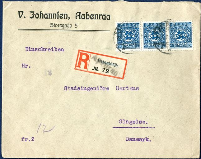 "Registered letter sent from Osterterp near Apenrade to Slagelse 21 February 1920, bearing a 3-strip 20 pf blue tied by Apenrade CDS, alongside Registration label ""Osterterp No. 72"" and on top stamped ""Apenrade"" 1-line mark. Censor label on back tied by the large 45 mm commission stamp ""COMMISSION - INTERNATIONALE - SLESVIG"" and Slagelse arriving CDS on reverse."