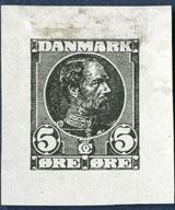 Die in black of King Christian IX 5 øre denomination on thin paper, designed by Hans Tegner. Note the many engraving lines in the face which do not appear on the original issue.