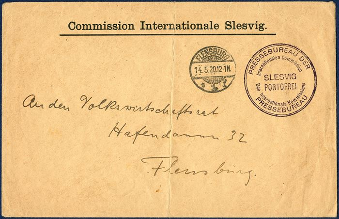 Official letter free of postage sent within Flensburg 14 May 1920. Stampless envelope and stamped with the cachet 'PRESSEBUREAU DER / Internationalen Commission –Den Internationale Kommissions / PRESSEBUREAU – SLESVIG PORTOFREI'.