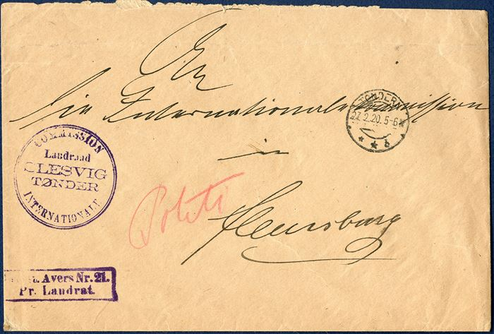 Official letter from Tondern 27 February 1920 to Flensburg, Germany. Sender's cachet  COMMISSION INTERNATIONALE / LANDSRAAD SLESVIG TØNDER, scarce cachets on letters. Avers. Nr. 21 / Pr. Landsrat'