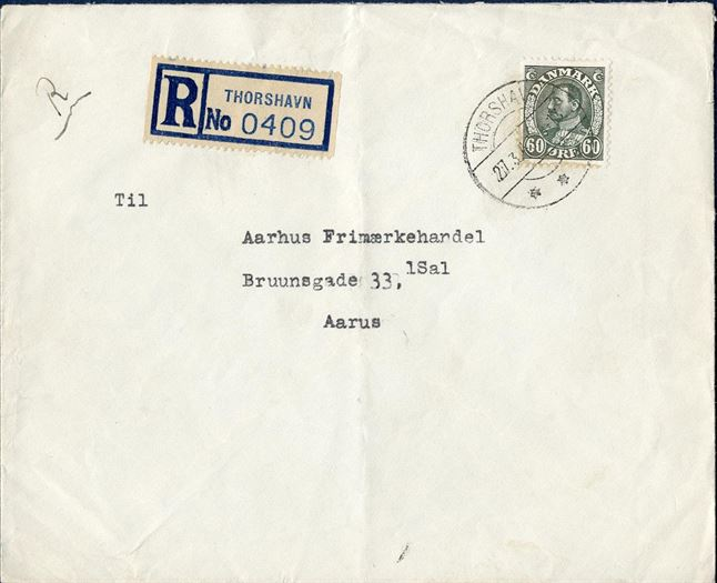 Registered letter sent from Thorshavn to Aarhus 27 March 1946, with British registration label No. 0409.