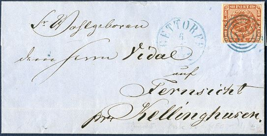 Letter inside date Aschau 6 May 1862 via Gettorf to Fernsicht per Kellinghusen. 4 sk. 1858 IV printing, wavy-line spandrels (small incision above right) cancelled with numeral '171' blue ink Gettorf and datestamp GETTORF 6.5.1862. Aschau is located north of Gettorf.