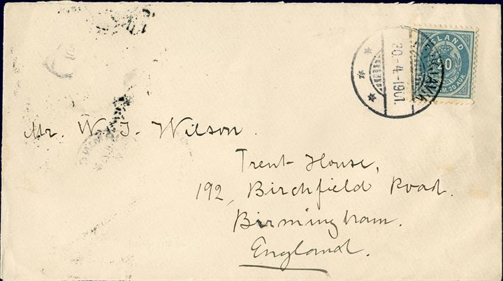 "Letter sent from Reykjavik to Birmingham 30 April 1901, bearing a 20 aur blue II. printing 1898 tied by swiss-type CDS ""Reykjavik"". On reverse Edinburgh transit and  Birmingham receiving mark. One short perf. tooth at lower right corner."