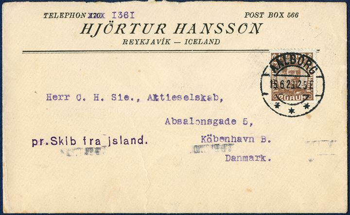 Letter from Reykjavik June 1923 to Copenhagen, Denmark. 20 aur brown King Christian X cancelled on arrival with cds AALBORG 15.6.23 12-5E and ship letter origin 'pr. Skib fra Island.' with reception mark KJØBENHAVN 2 OMB. 16.6.23 B.  An extremely rare ship letter cancellation, very fresh and every aspect of this letter in superb condition.