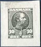Die proof in black of King Christian IX 10 øre denomination on thin paper, designed by Hans Tegner.