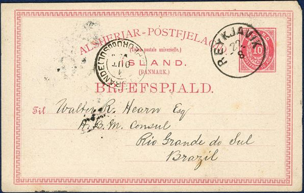 "10 aur Postal card ""BREJFSPJALD"" 1880-issue, Schilling #3 sent from Iceland Rio Grande do Sul, Brazil. Sent from the British Consulate in Reykjavik 20 August 1894, with Rio Grande do Sul receiving mark on front, 1 October 1894. Only recorded 10 aur card to Brazil. Two other stationery cards are recorded to South America; one 5 aur and one 8 aur card uprated with stamps  from Iceland, only three recorded."