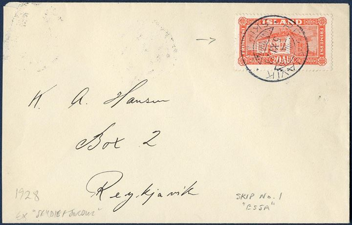 "Letter sent from Seydisfjörur to Reykjavik 5 November 1928 bearing a 20 aur National Library building tied by the ship ESJA CDS ""REYKJAVIK SKIP Nr. I"", correct 20 aur franking."