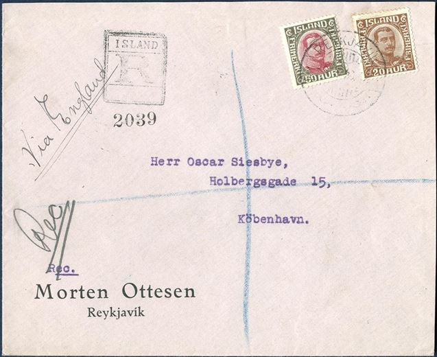 Registered letter sent via Edinburgh from Reykjavik 6 February 1923 to Copenhagen, bearing a 50 aur and 20 aur King Christian X broken lines tied by Reykjavik CDS. Letter rate up to 40 gram 40 aur plus 30 aur registration fee, total 70 aur postage. Stamps with small imperfections.