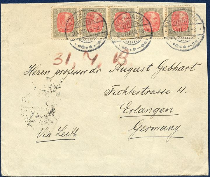 Letter sent from Reykjavik to Erlanger, Germany 24 July 1913 bearing 5-strip of 4 aur King Chr. IX, tied by Reykjavik CDS. Envelope slightly cut down above and right side.