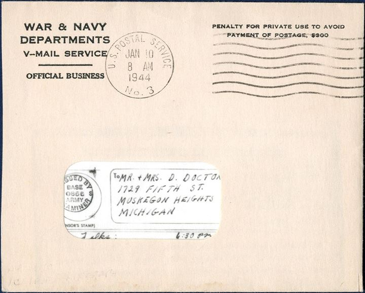 "Processed ""V-MAIL"" letter sent from APO 610 (Keflavik), stamped ""Passed by US BASE EXAMINER 0866"", dated 23 December 1943, sent to Muskegon, Michigan, with envelope stamped US POSTAL SERVICE NO. 3, 10 Jan 1944."