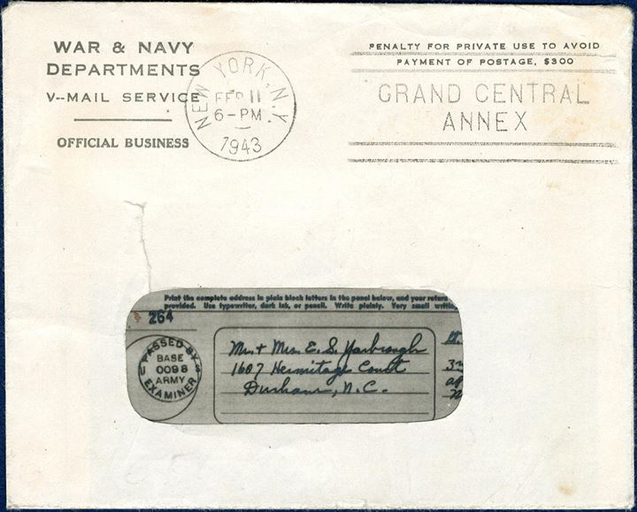 "Processed ""V-MAIL"" letter sent from APO 860 (Reykjavik), stamped ""Passed by US BASE EXAMINER 0098"", dated 30 Dec. 1942, sent to Durham, NC, with envelope stamped New York Feb 11, 1943."