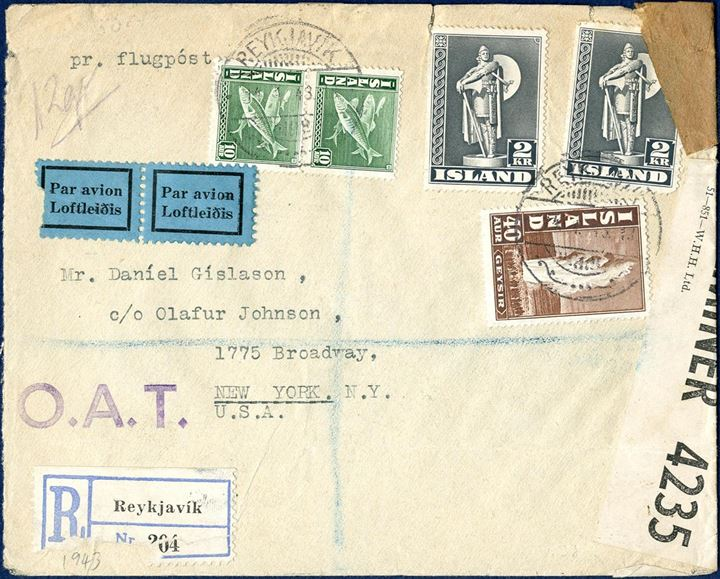 Registered OAT letter sent from Reykjavik to NY, New York 11 January 1943, bearing a total postage of 460 aur. Airmail surcharge to the US, New York, 2x180 aur = 360 aur, plus 60 aur letter rate up to 20 gram and 60 aur registration fee, 480 aur. Apparently underfranked by 20 aur. Small imperfections.