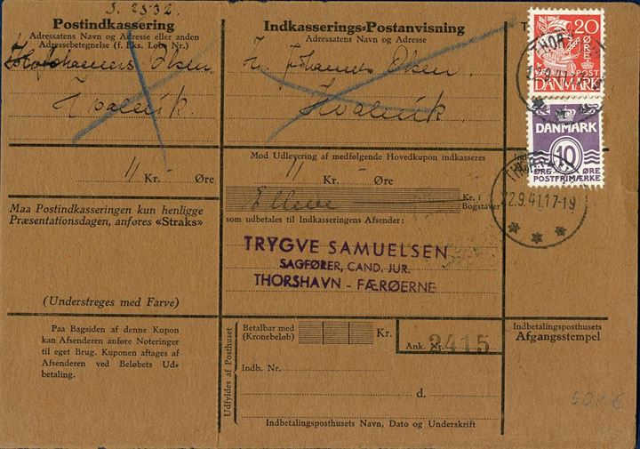 Postal Money Order for 11 Kr. sent from Thorshavn to Hvalvik 22 September 1941, total postage 30 øre.