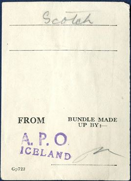 "Mail sorting label used with the British Forces in Iceland, stamped ""A.P.O."" ""ICELAND"". Rare."