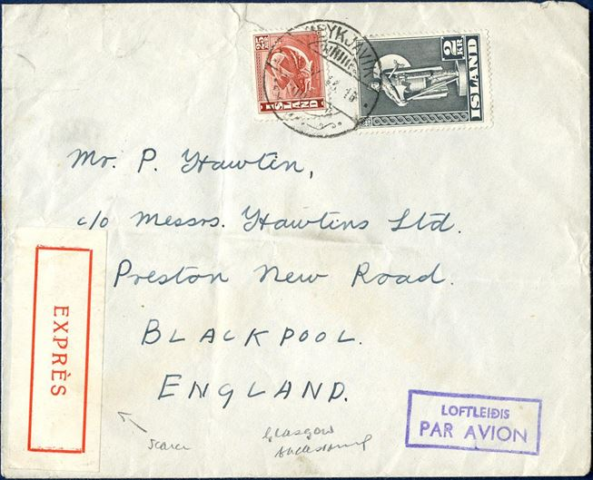 Registered air mail letter sent from Reykjavik to Blackpool, September 1946. Unusual expres label affixed.