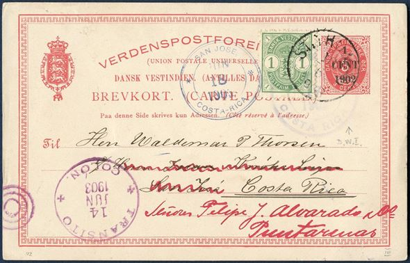 Provisional postcard 1/3 c. 1902 with additional franking 1 cent Arms type tied by St. Thomas cds June 10, 1903 to Costa Rica to make up the 2 cents rate for UPU postcards. Transit via Colon, Panama and readdressed in Costa Rica. A very unusual destionation.