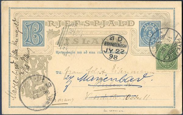 5 aur BRJEFSPJALD sent from Reykjavik to Berlin 17 July 1898, with additional franking 5 aur perf 12 3/4, Edinburgh transit mark and receiving mark Berlin on front, re-addressed in Berlin. Forerunner for picture postcards, with photograph affixed on reverse.
